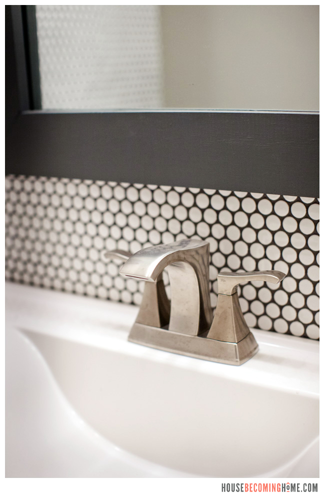 Bathroom Update penny tile and brushed nickel faucet