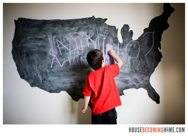 DIY US chalkboard drawing