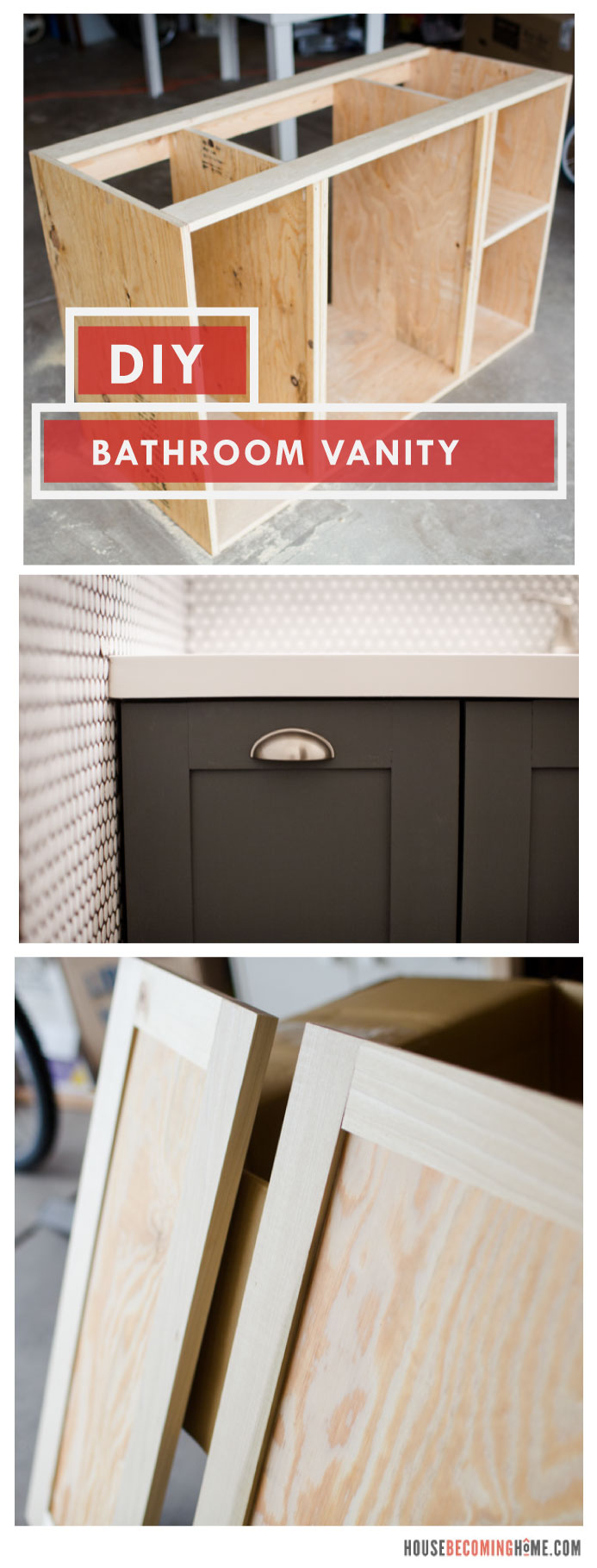 DIY bathroom vanity with shaker style doors collage