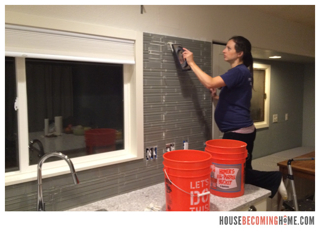 DIY Kitchen Reno Grouting Tile