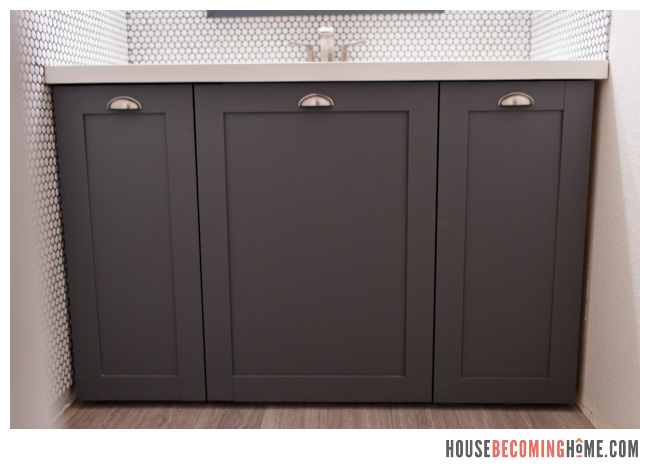 DIY dark grey bathroom vanity cabinet
