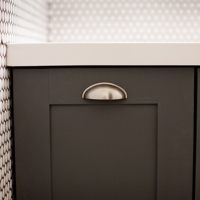 DIY bathroom cabinet shaker style door painted grey