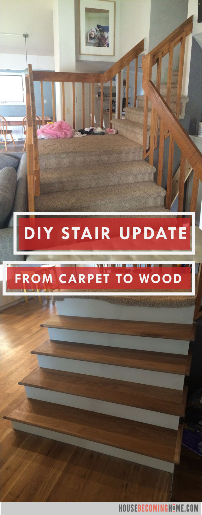 DIY Stair Update from carpet to wood