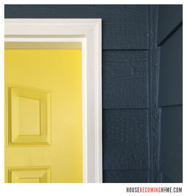 House Exterior Paint colors. Yellow door and blue-grey body