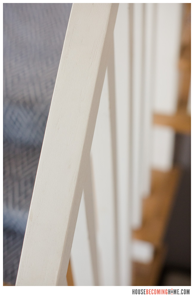 DIY handrail from 2x4 painted white