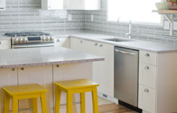 White Kitchen with atlantic salt quartz countertops by Caesarstone