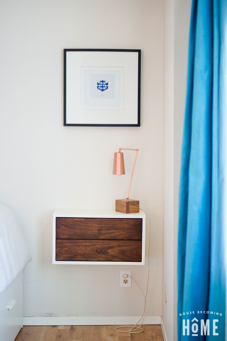 DIY Copper Light on Floating Nightstand