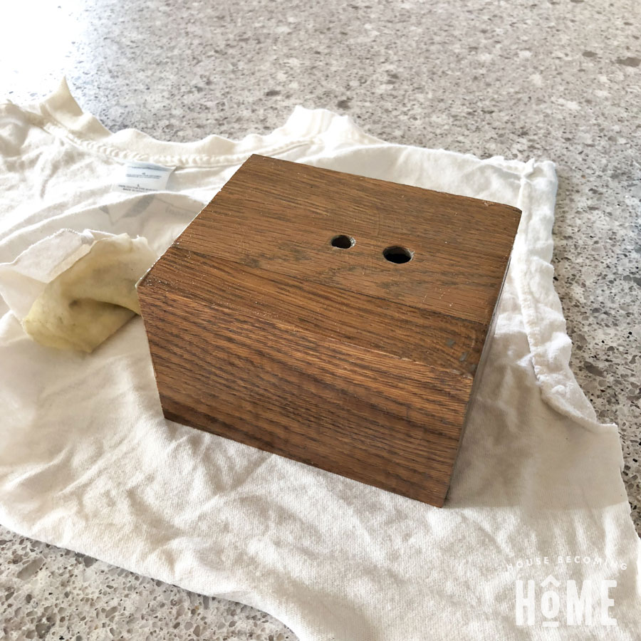 Wood Base of DIY light stained