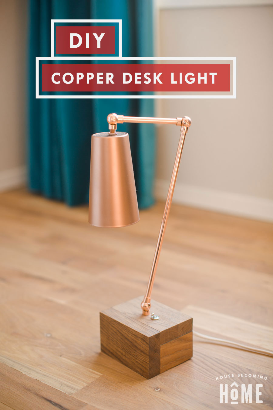 DIY Copper Light made from Copper Pipe and Glass Cup