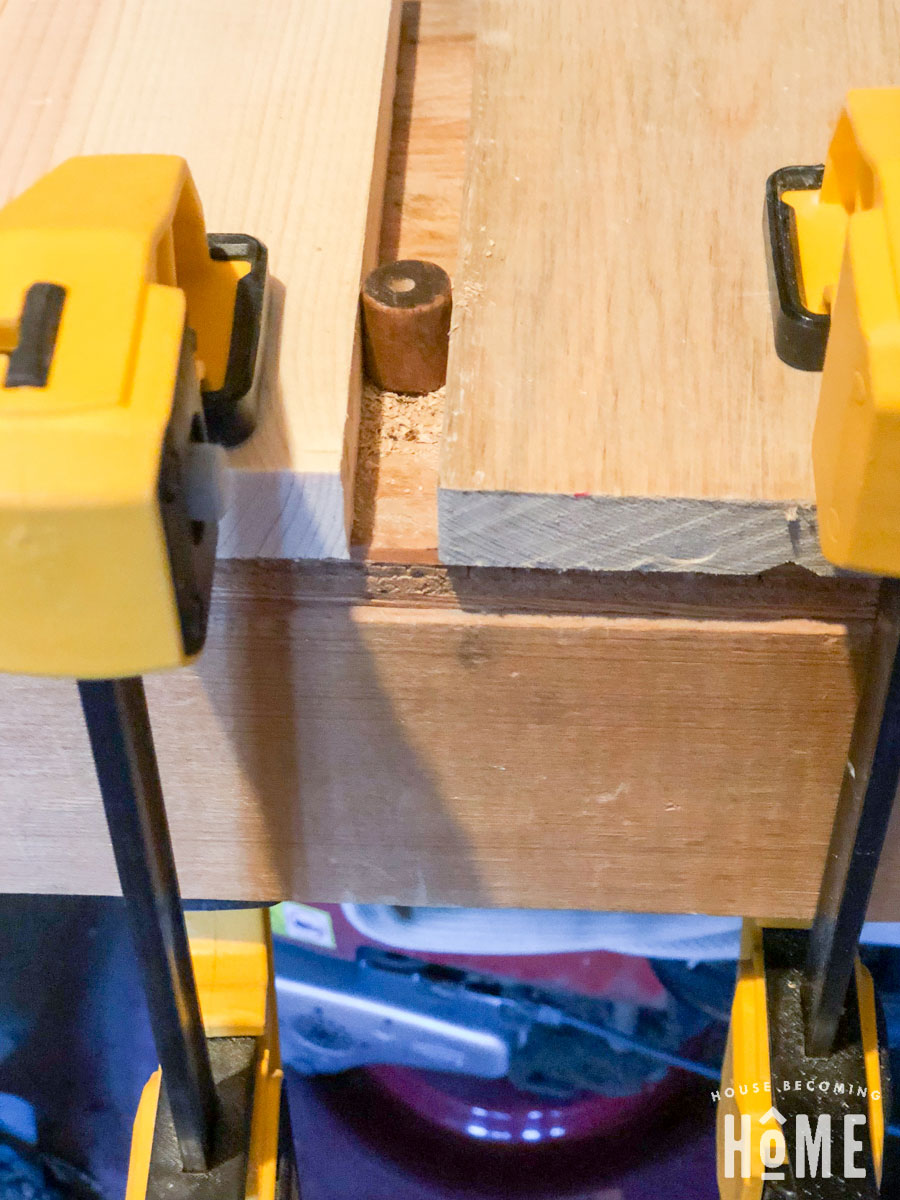 drilling hole into dowel for DIY drawer knobs