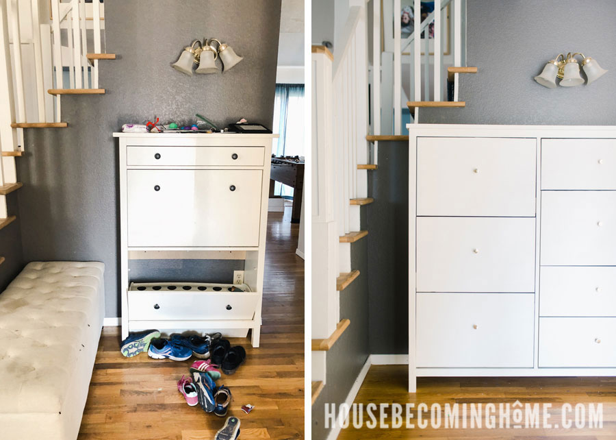 shoe cabinet before and after