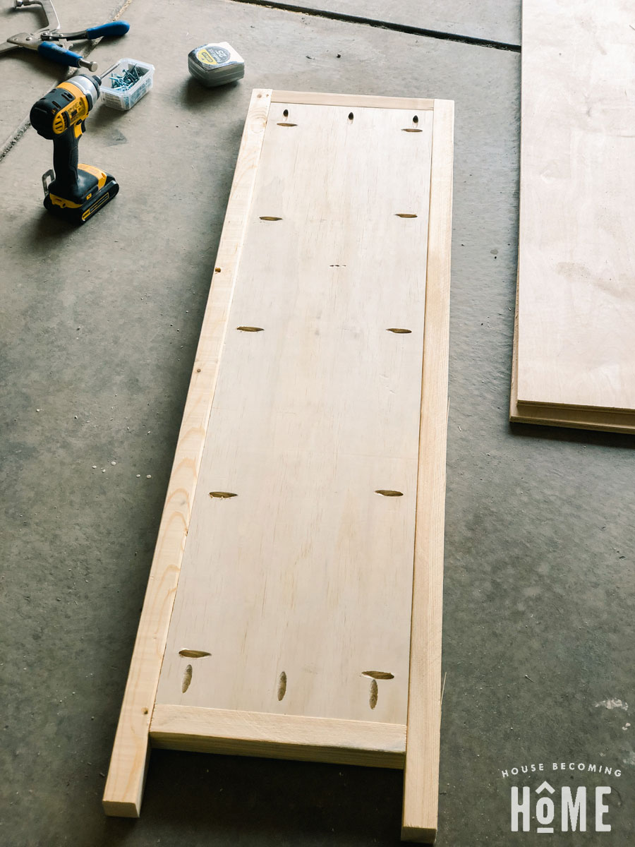 Shoe Cabinet Frame side joined with pocket holes