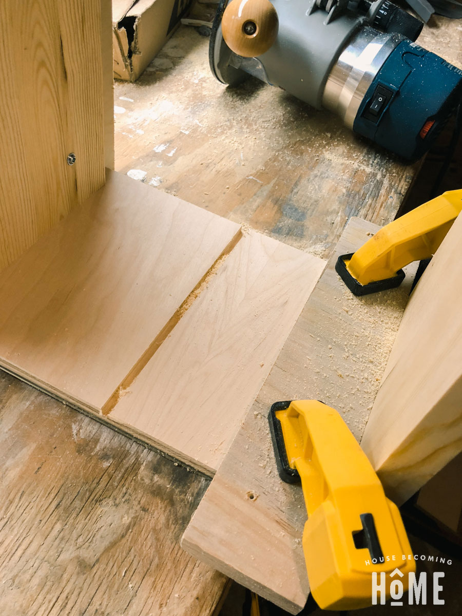 routing dividers in drawers of shoe cabinet