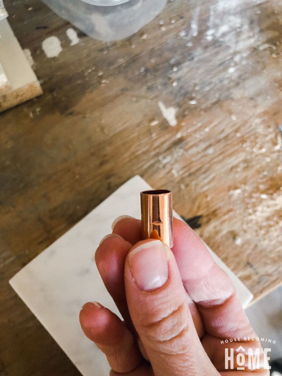 copper coupling for DIY copper twisted light