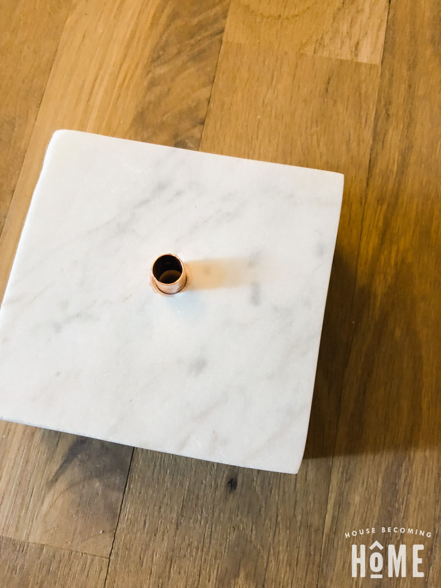 Marble Light Base with copper coupling