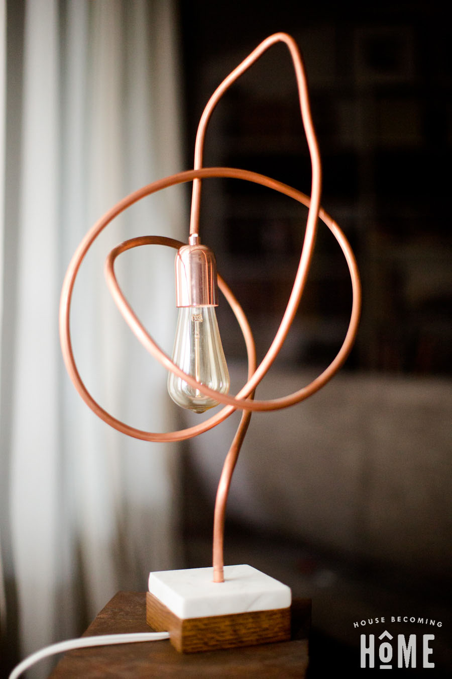 Modern Sculpture Copper Pipe Light with Edison Bulb