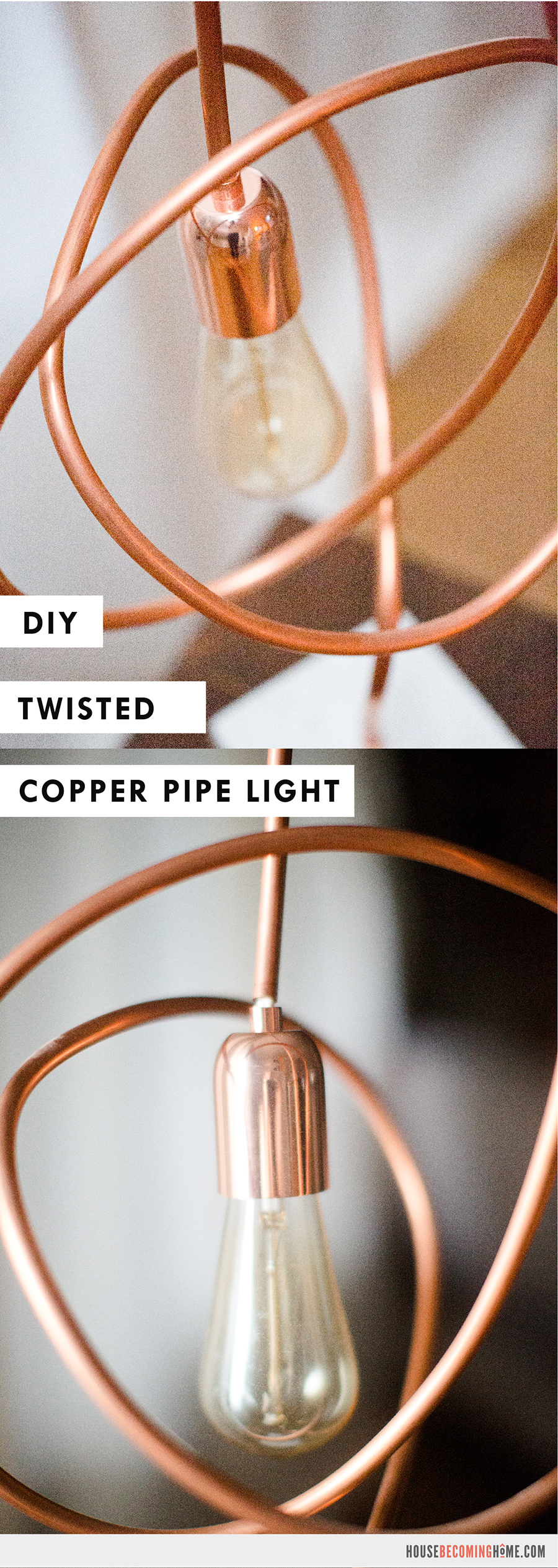 DIY Twisted Copper Pipe Light with Edison Bulb - DIY Instructions