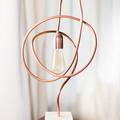 Twisted Copper Pipe Modern Light on Marble Base