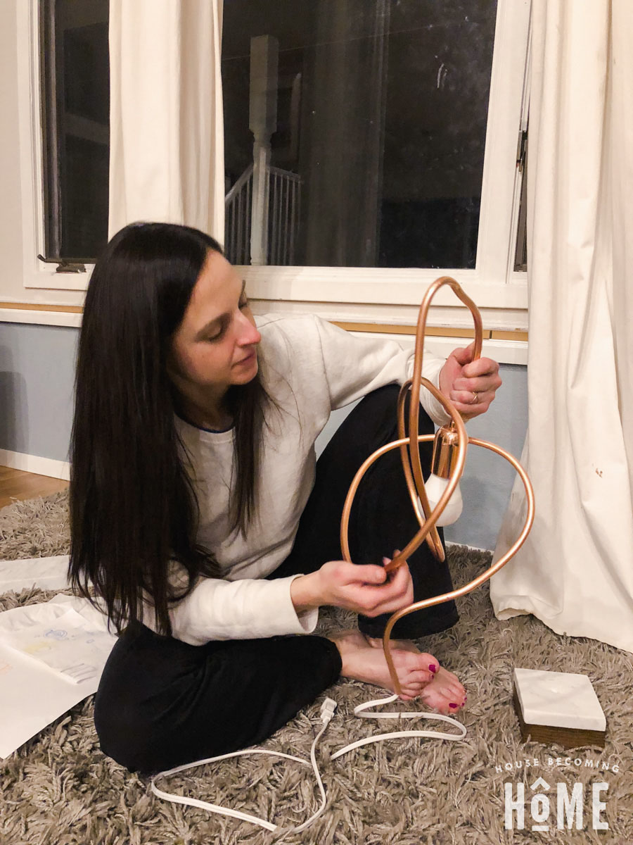Twisting copper pipe for DIY modern light