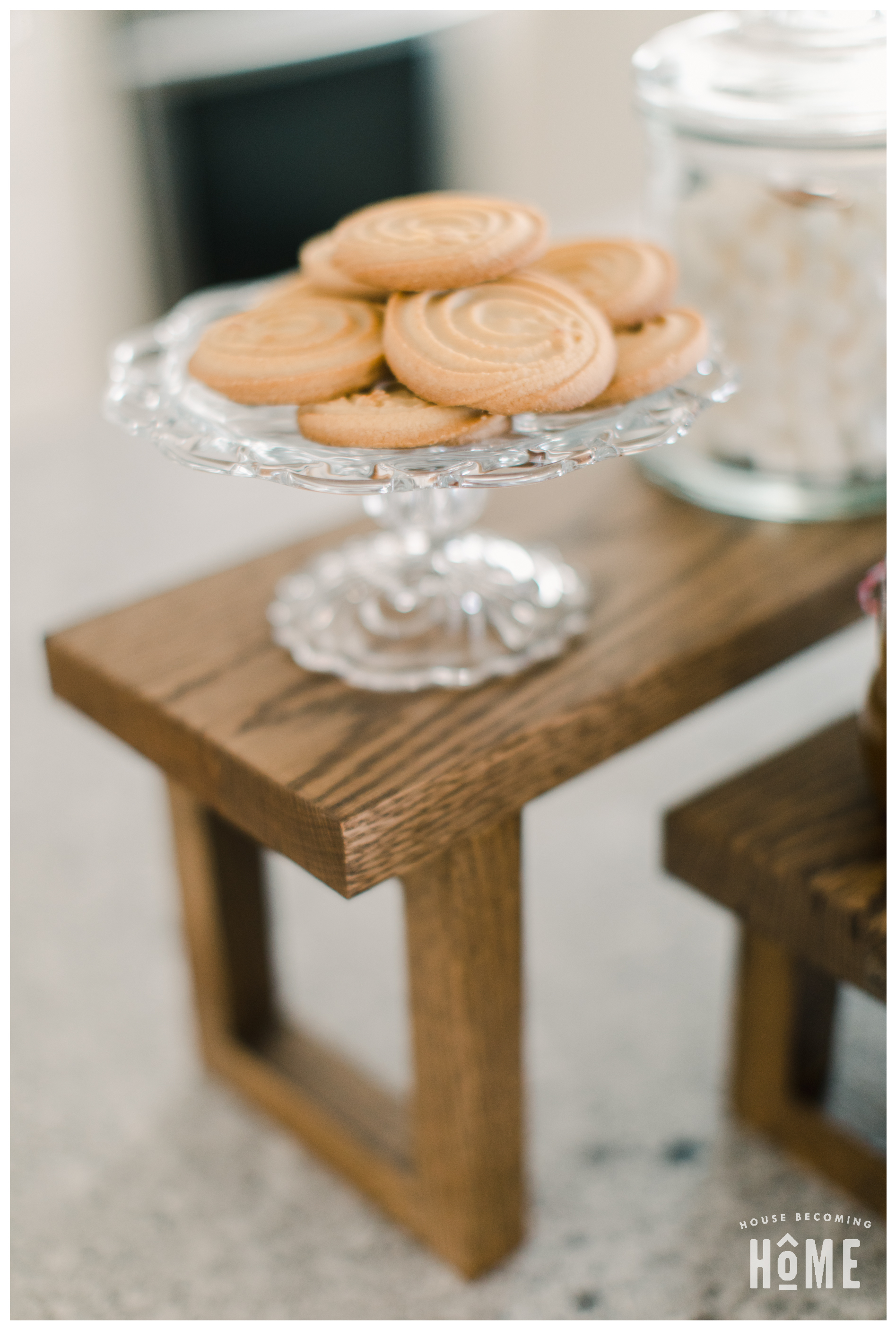 Small Cake Stand with Cookies on Hot Cocoa Bar