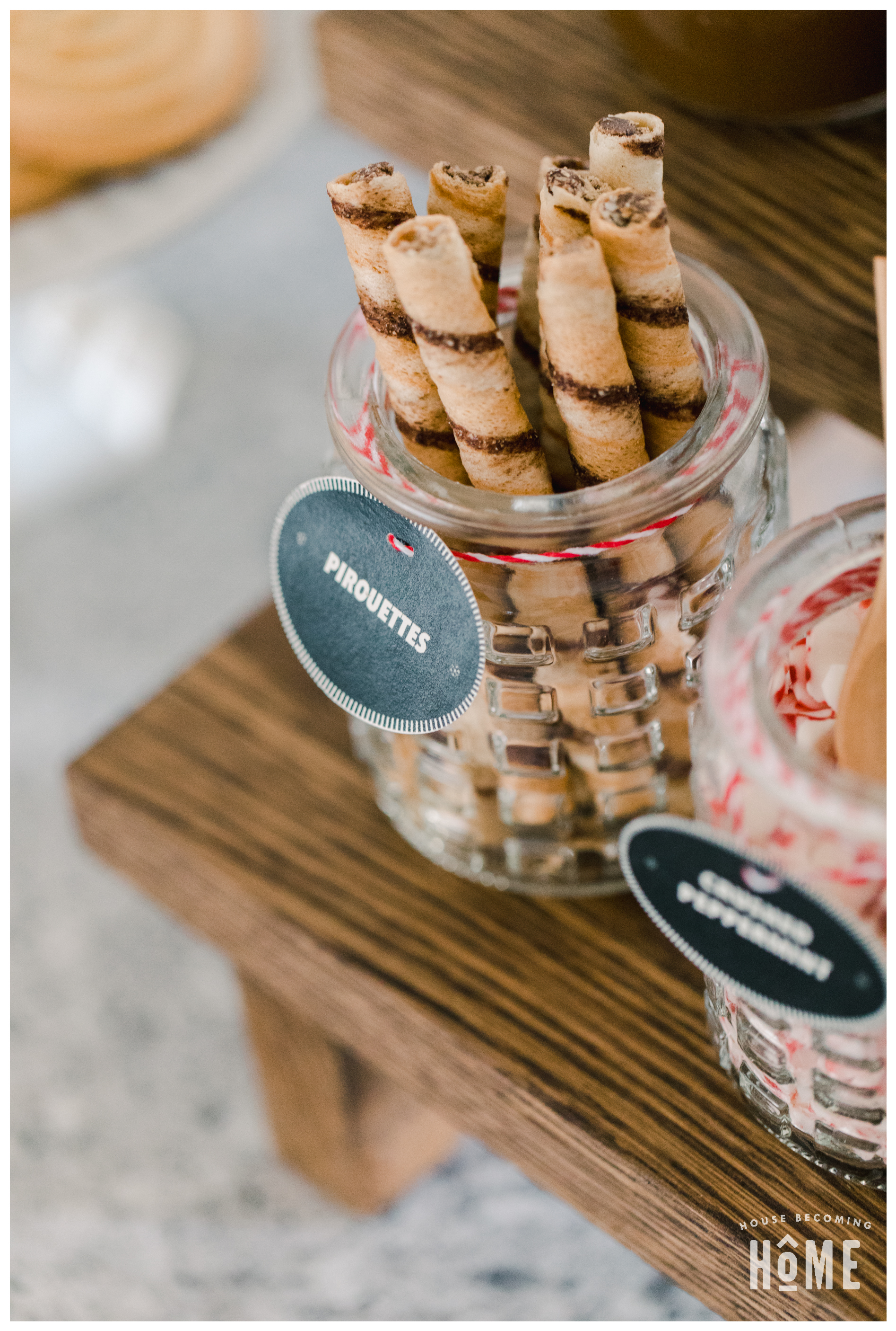 DIY Hot Chocolate Bar Toppings and Treats. Glass jar of Pirouettes.