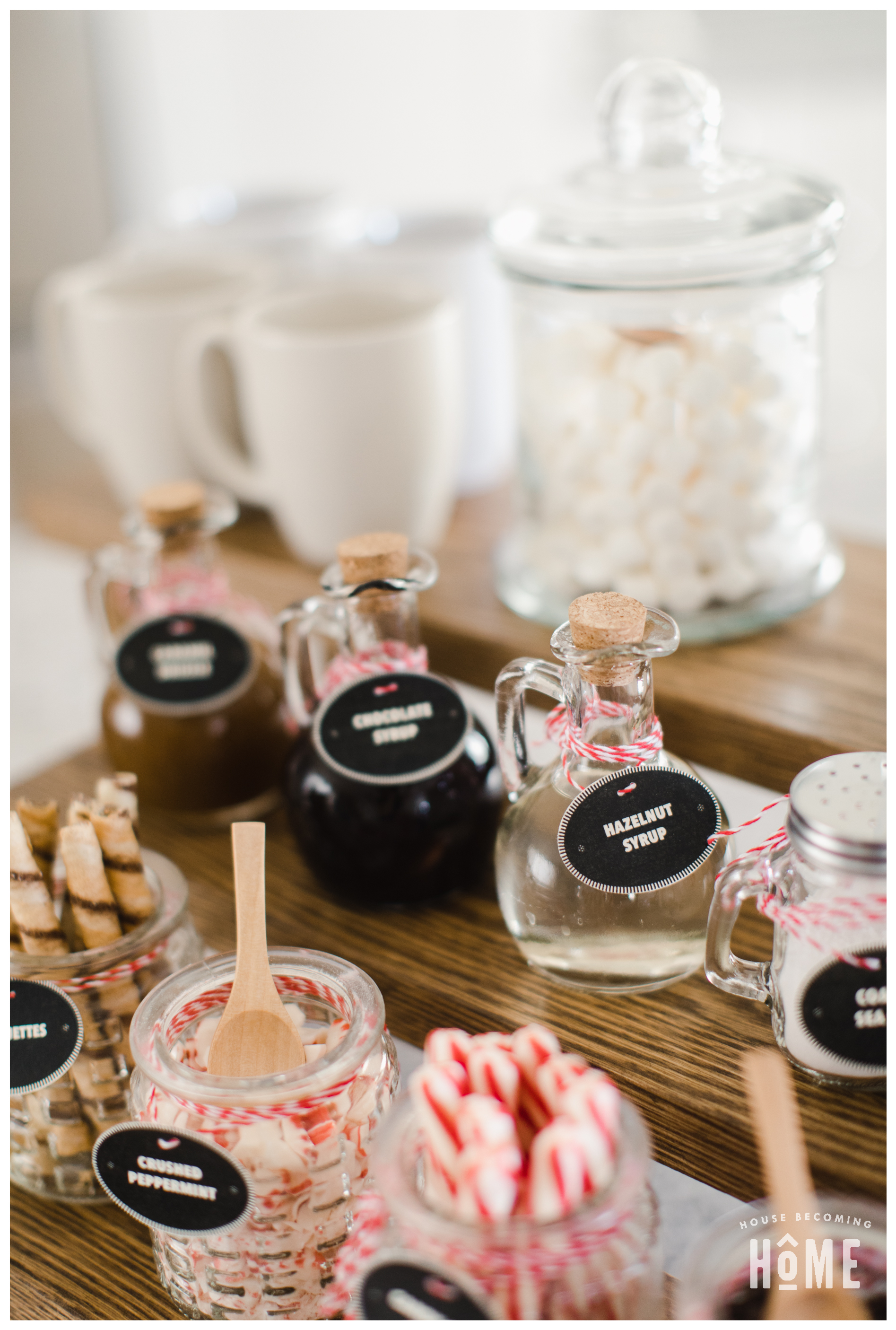 Hot Cocoa Bar Ideas for Items to Include : chocolate syrup, caramel drizzle, hazelnut syrup, mini chocolate chips, crushed toffee bits