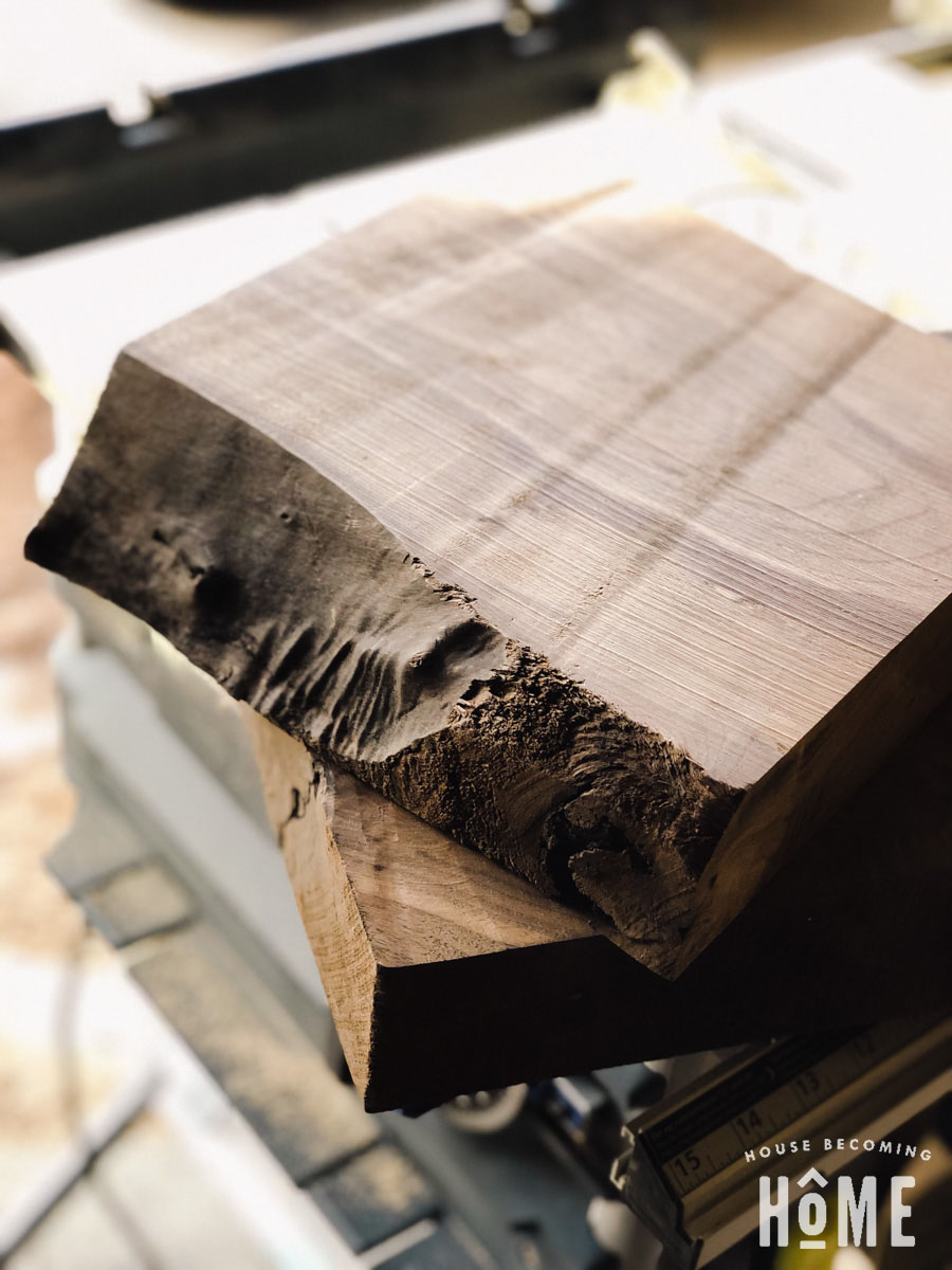 Thick Cut of Walnut with Live Edge for DIY Stool