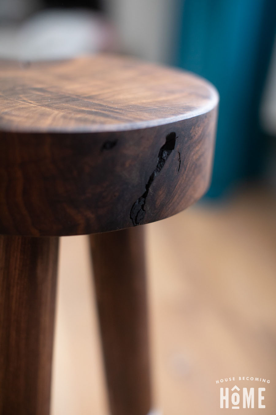 Dip Dyed Walnut Stool Imperfections