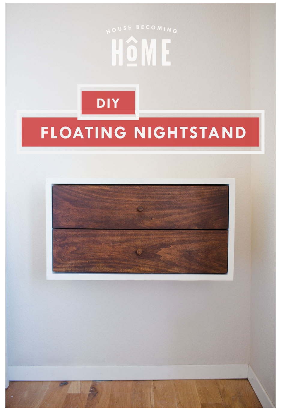 How to Build a Simple and Affordable DIY Floating Nightstand with Drawers. Includes free printable pdf plans.