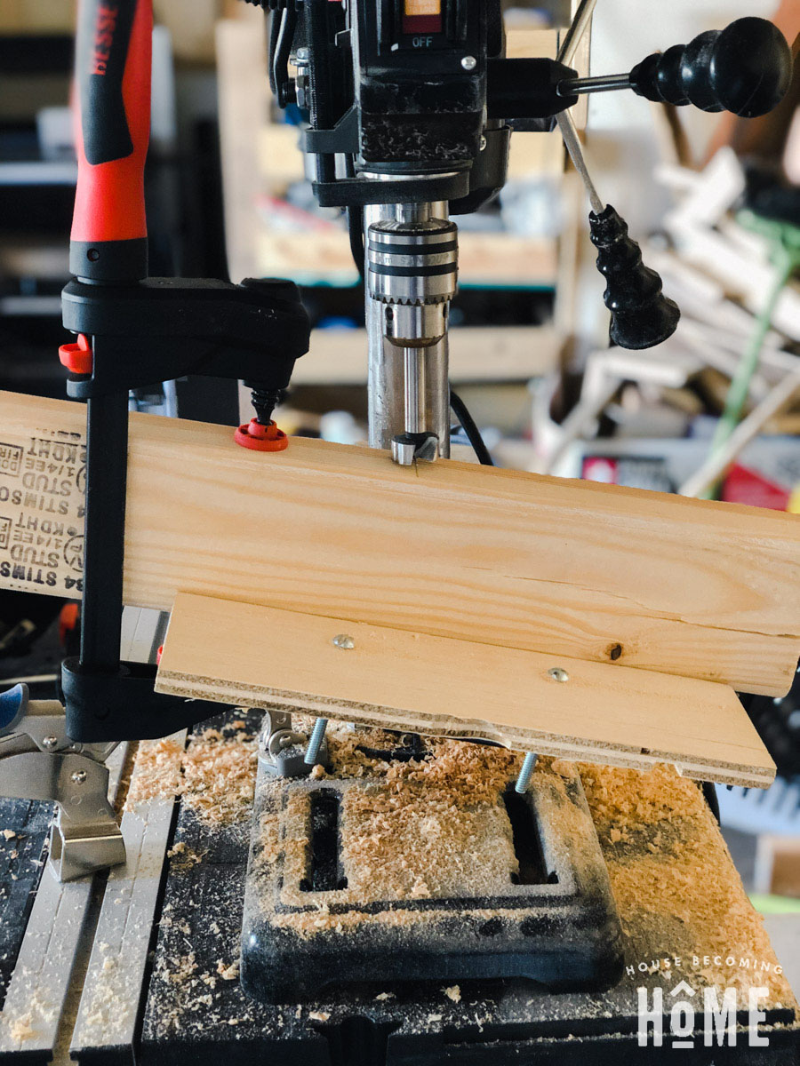 Angle For Drill Press Holes in DIY Lumber Rack