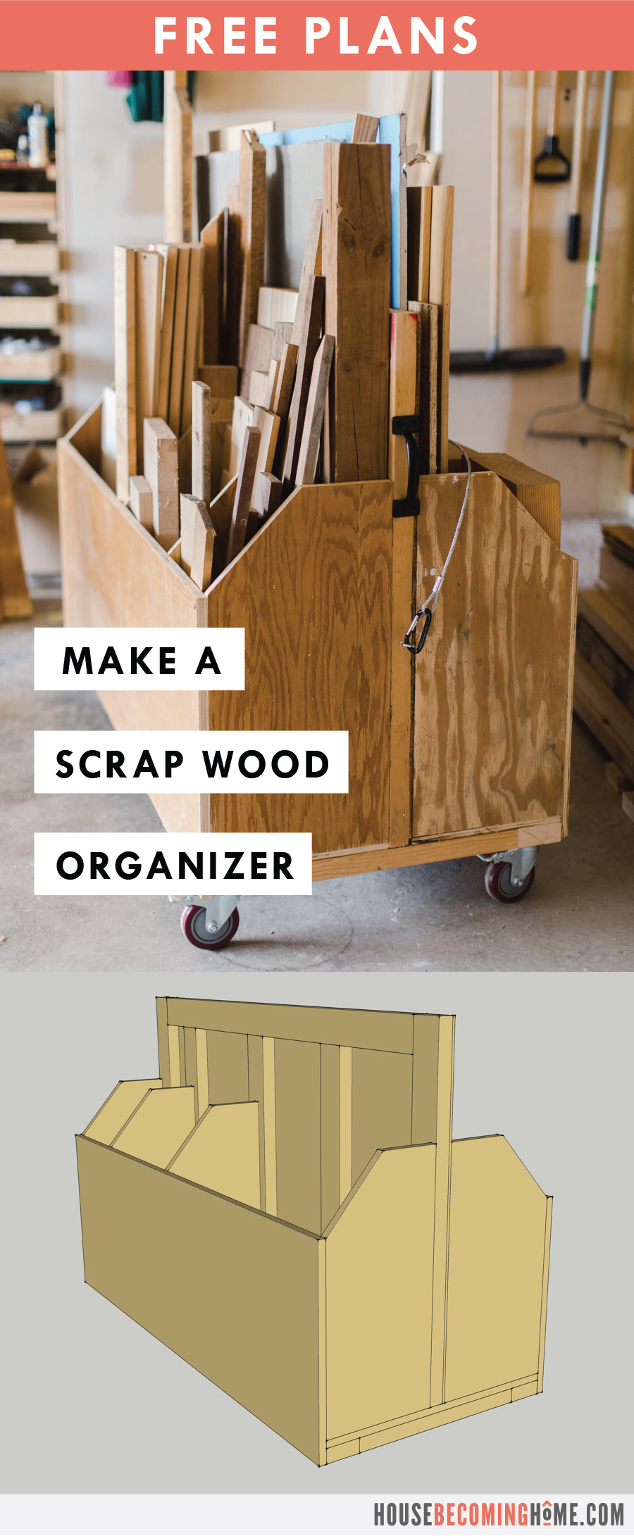 How to Build An Affordable, Simple, Mobile Cart to store and organize scrap lumber and plywood in your workshop