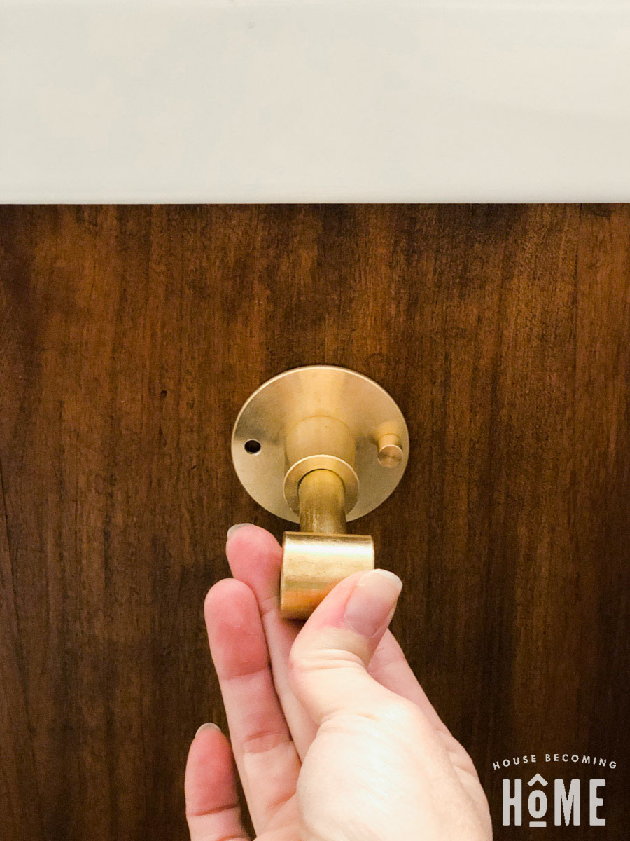 How to Mount DIY Brass Toilet Paper Holder to Wooden Vanity Cabinet