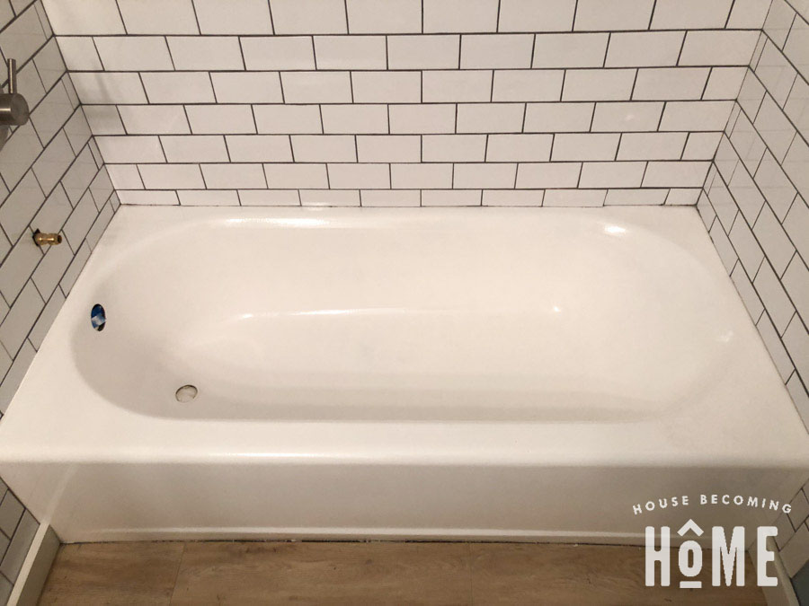 After first coat of paint on bathtub