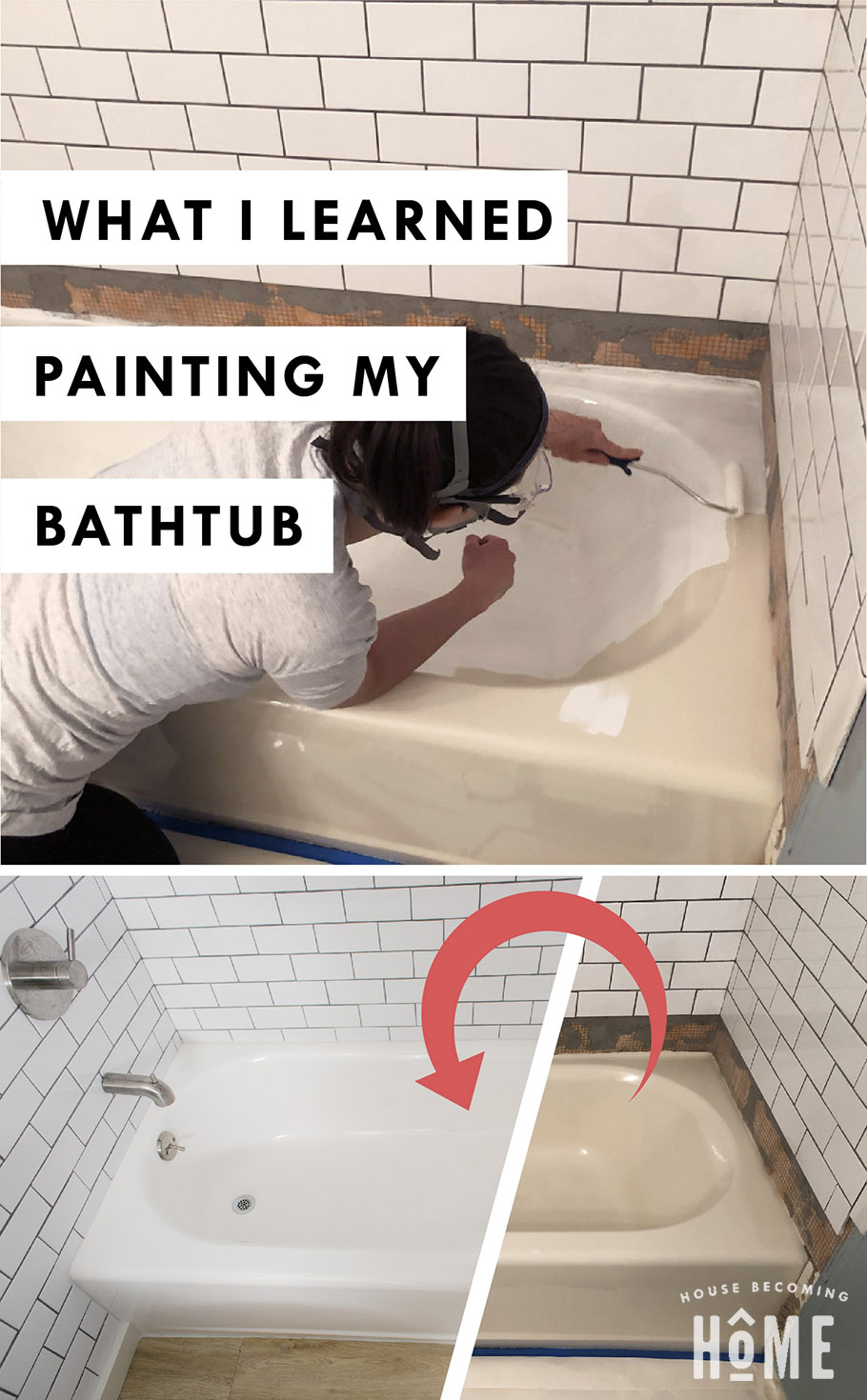 What I Learned Painting my Bathtub. Six tips for refreshing an outdated bathtub with a simple tub and tile kit