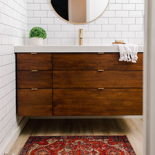 DIY vanity Plans for Ikea Odensvik Sink. Cherry Wood Vanity. Printable Plans
