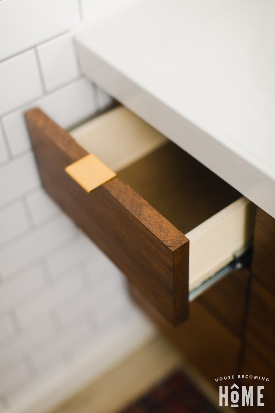 Small Drawer of DIY Vanity with Ikea Odensvik Sink