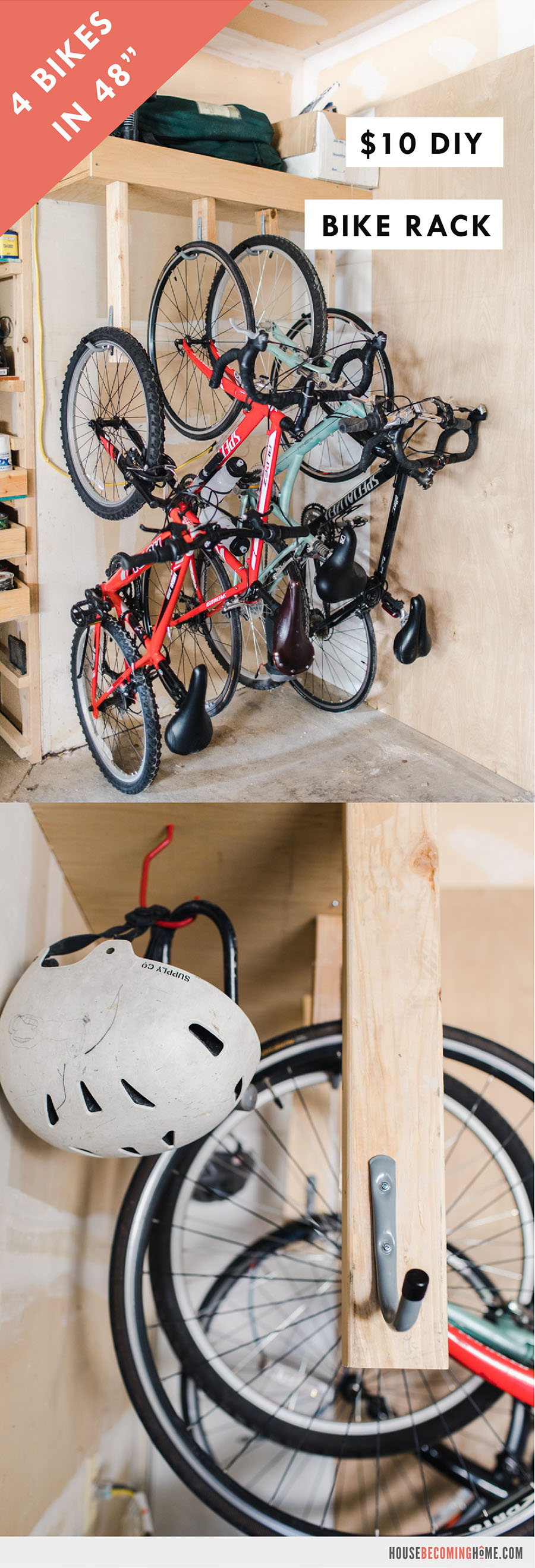 """Make a space-saving DIY Bike Rack that stores four bikes in 48"""" of space. This bike rack is easy to make and super affordable, costing about $10 in materials!"""