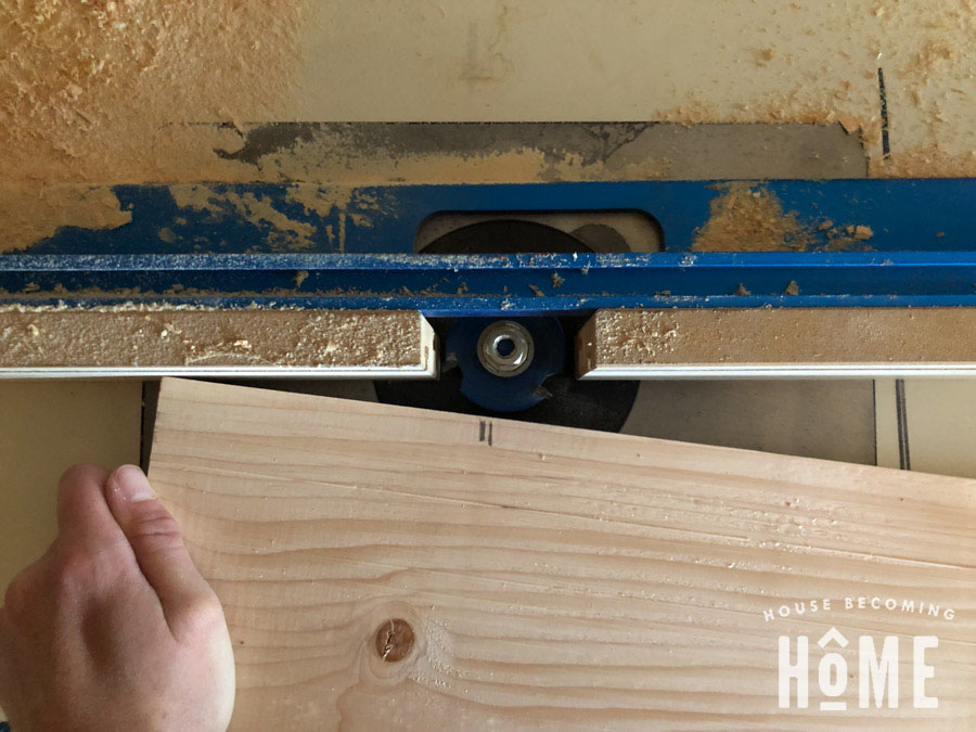 "Routing Slots in DIY Door with 1/4"" slot cutter on router table"