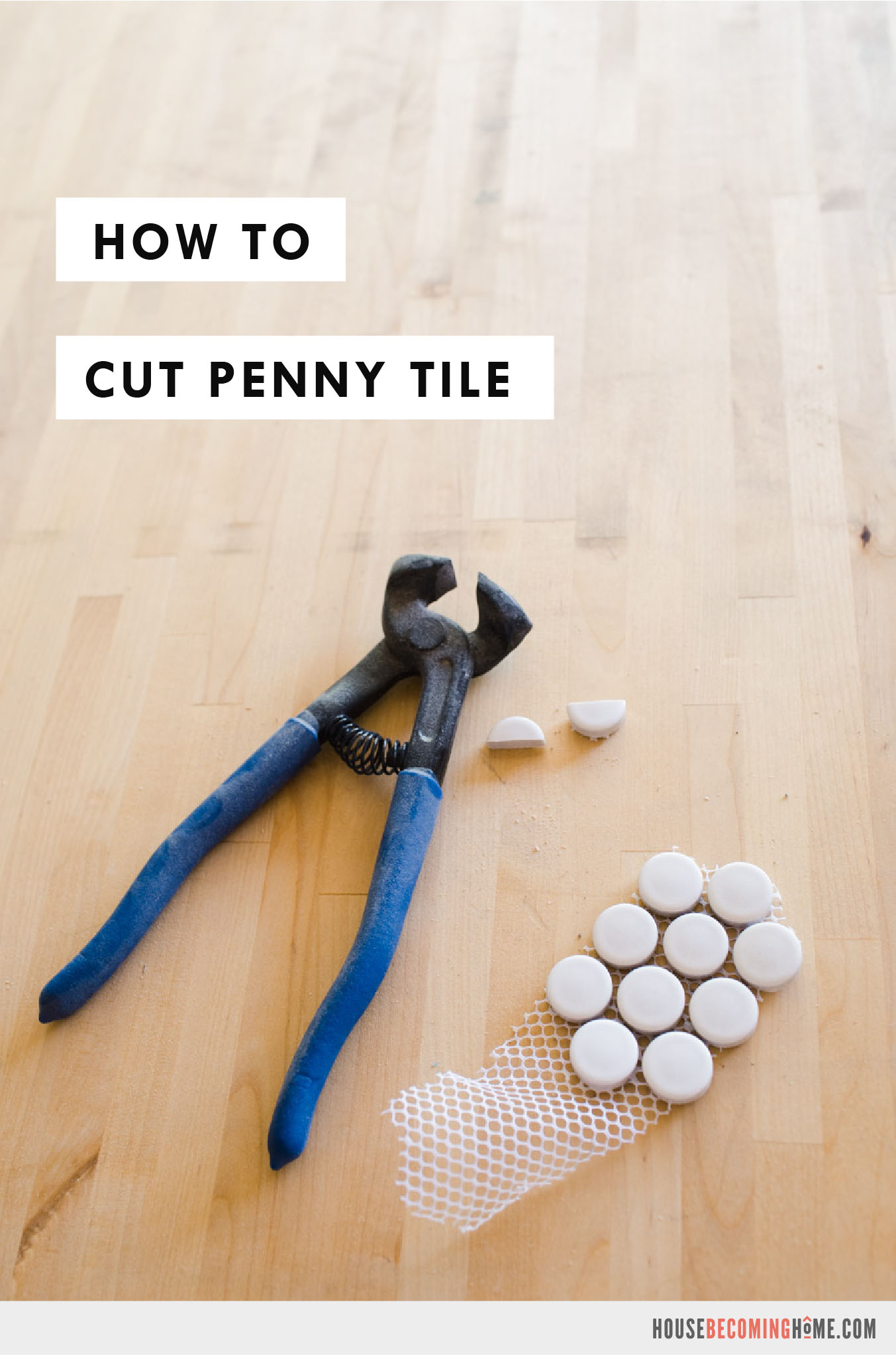 Learn How To Cut Penny Tile with a Simple Pair of Tile Nippers. Instructions and quick video!