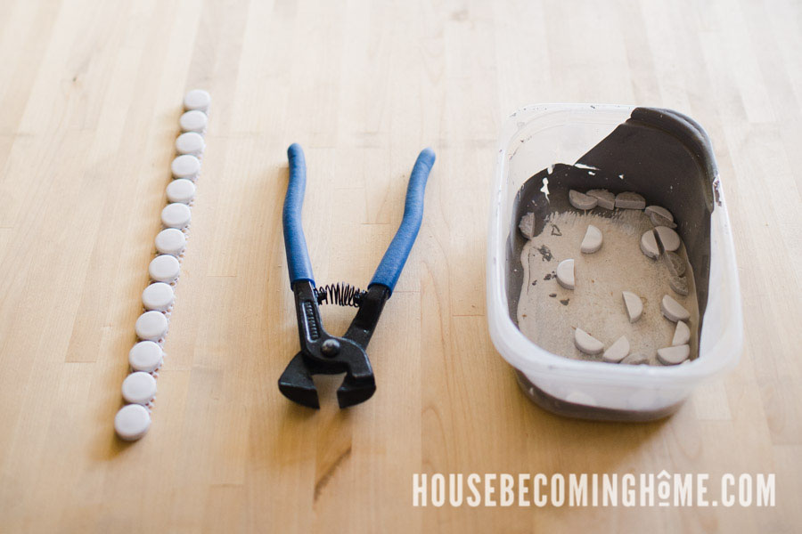 Use an old container to catch the pieces of penny tile as you cut them