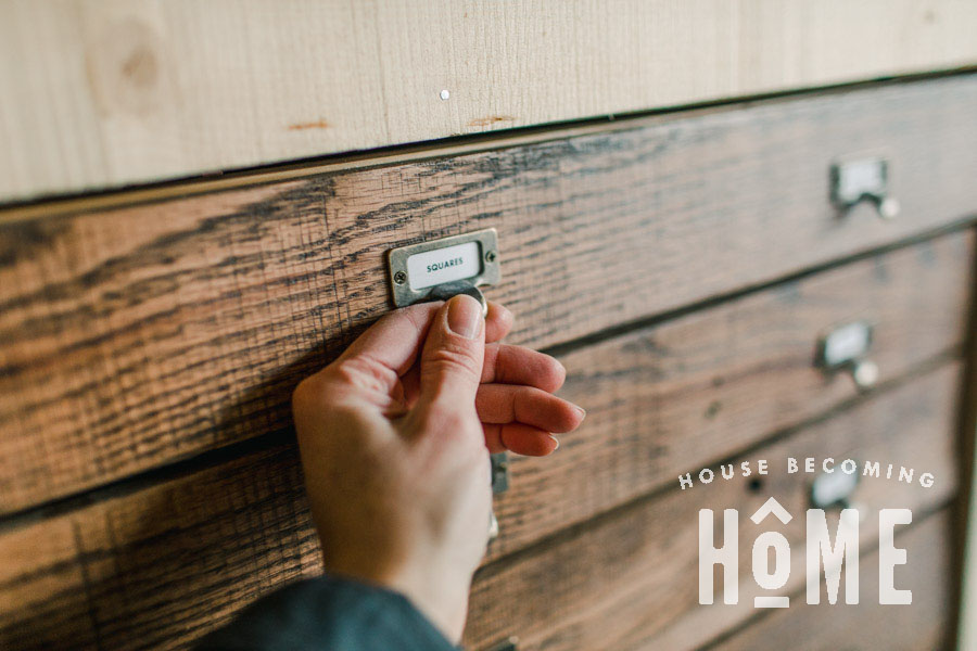 Easily Find Tools in Workshop with Drawer Labels and Antique Finger Pulls
