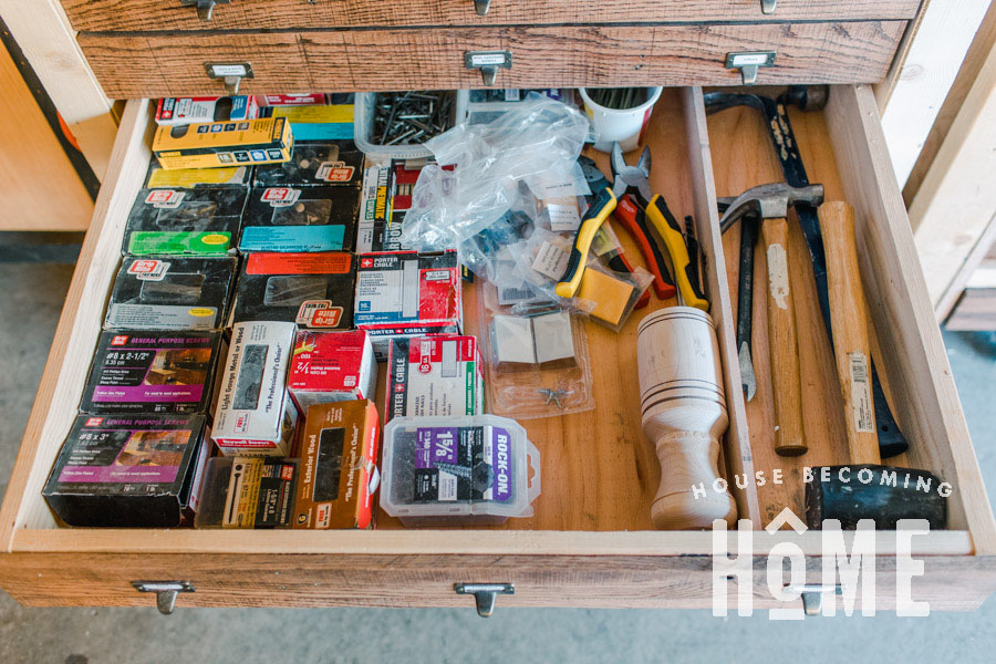 Hammer and Nails Storage Drawers