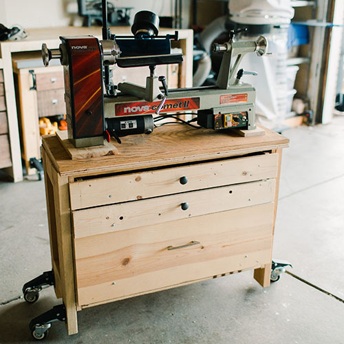 Midi Lathe on DIY Portable Table with Storage