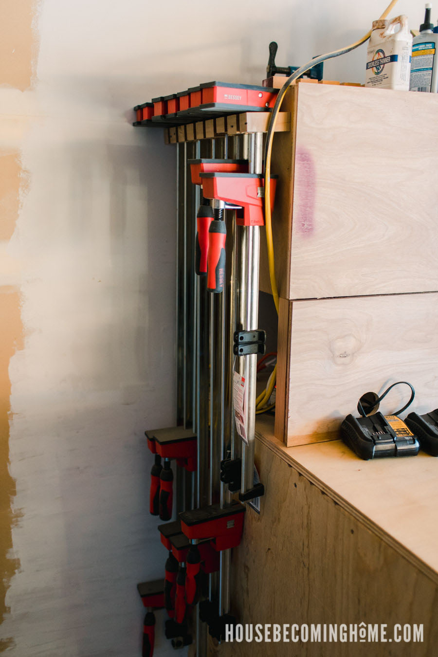 Large Clamp Storage Solution in a Small Garage