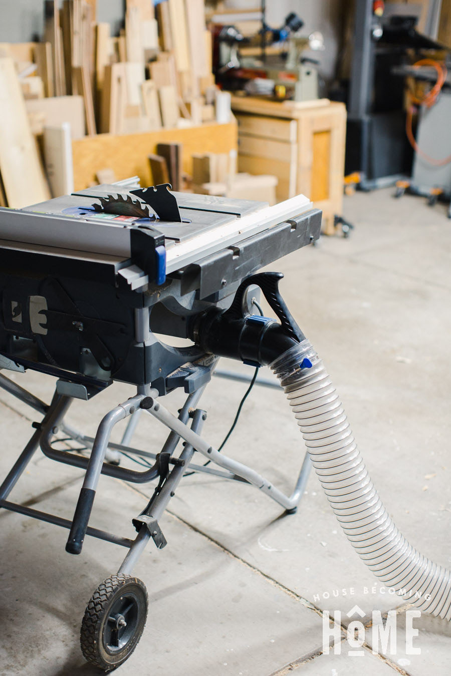 Small Garage Dust Collection Dust Right Handle on a Portable Table Saw