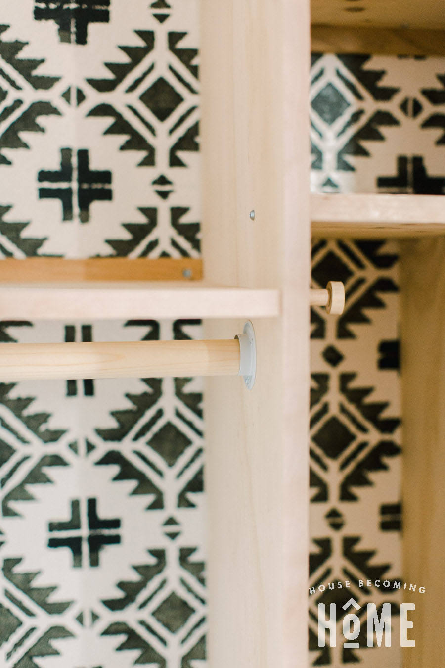 DIY Coat Closet Makeover with Wooden Closet Rod from Dowel