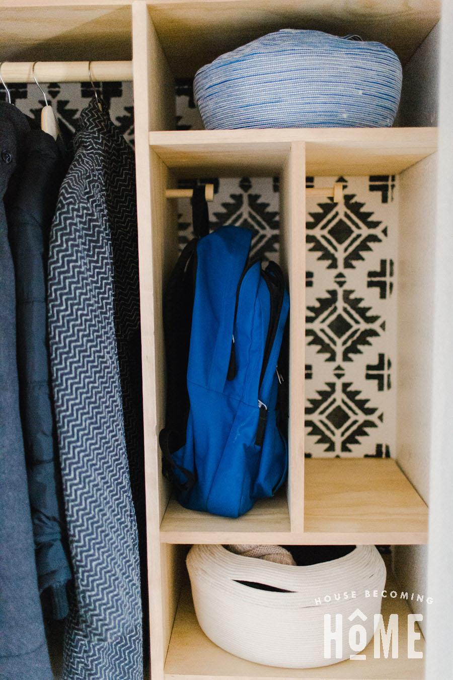 DIY Knobs to Hang Backpacks in Coat Closet with Backpack