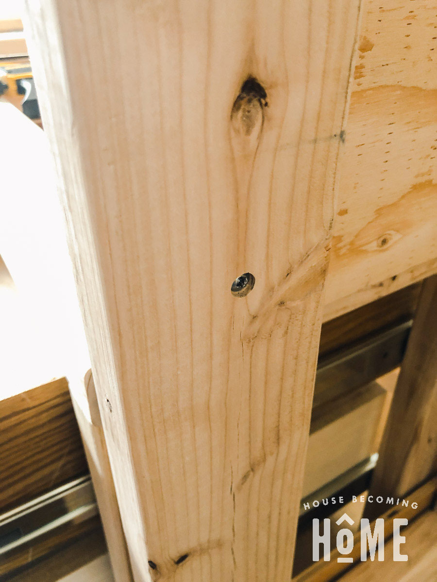 Attach Plywood Panel to Side of Bunk Bed with Countersunk Screws