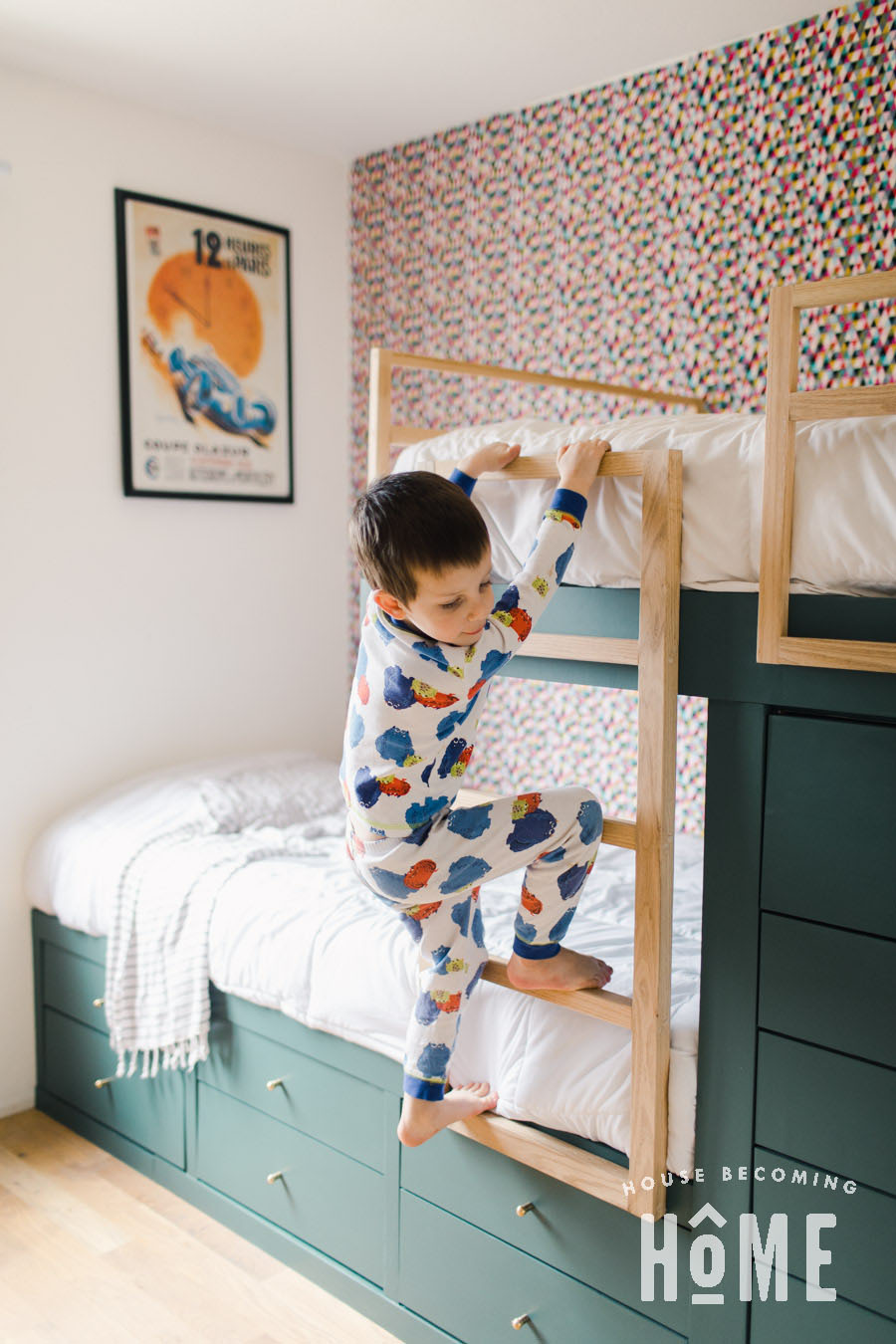 Climbing Ladder of Built in Bunk Beds