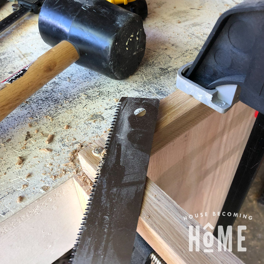 Attaching Bottom Shelf to Floating Nightstand Trimming Dowels